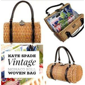 Kate Spade Bag Wicker Monaco Roll Woven  Toast & Black VTG RARE
